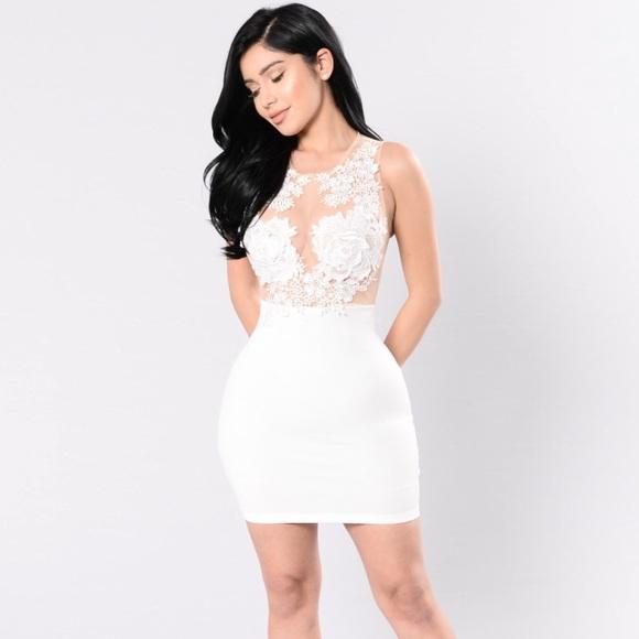 7a1e4246a3 Fashion Nova White bodycon dress